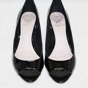 Vince Camuto black patent leather peep toe wedges